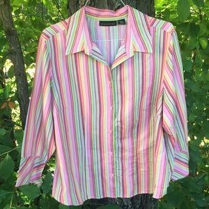 GUC 2X Striped Ladies Button Blouse 3/4 Sleeves